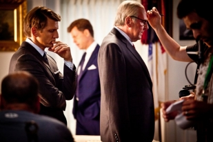 Tom Wilkinson in Makeup With Barry Pepper and Greg Kinnear - The Kennedys